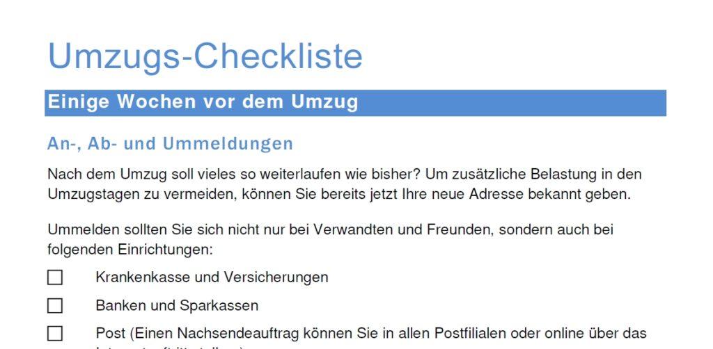 Infos für Mieter und Eigentümer-Umzugs Checkliste